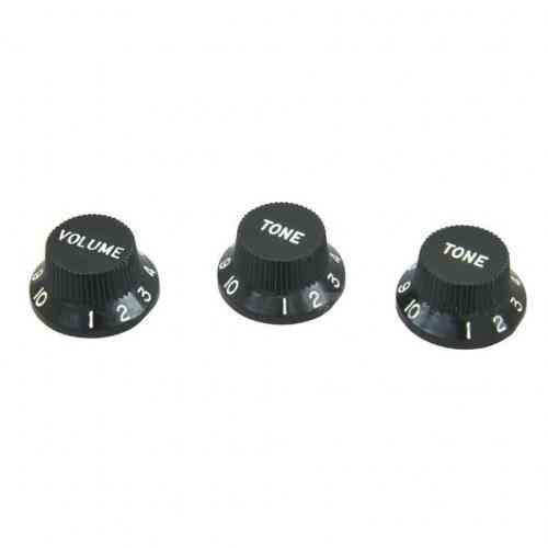 Dimarzio Strat Replacement Knobs (1V,2T) Black DM2111BK