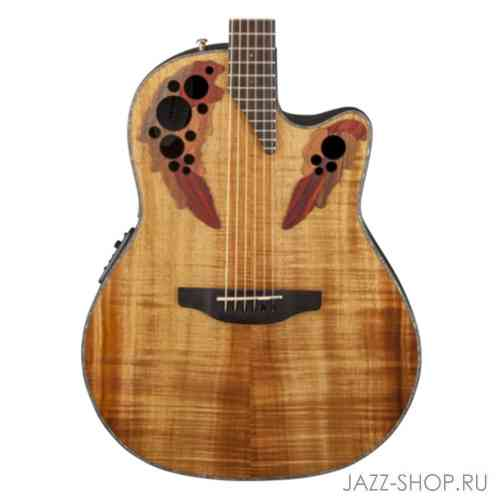 Ovation CE44P-FKOA Celebrity Elite Plus Mid Cutaway Natural Figured Koa