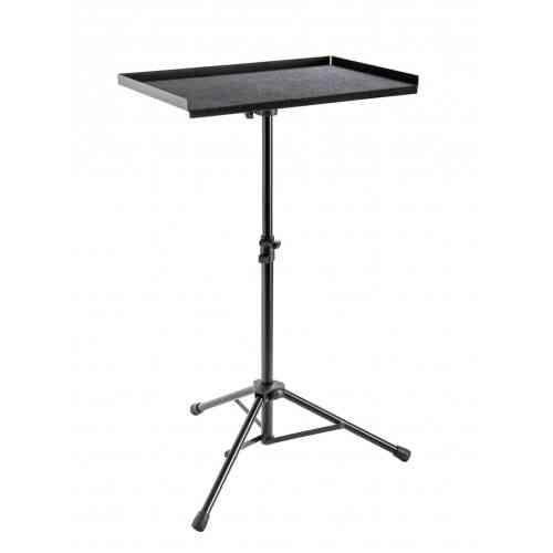 K&M 13500-000-55 стойка под перкуссию или ноутбук, в 70 - 125 cм, стол 573 x 373 мм покрыт фетром, сталь, чёрный, вес 4,5 кг