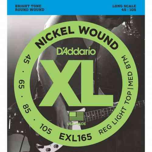 D`Addario EXL165 Nickel Wound Bass, Custom Light